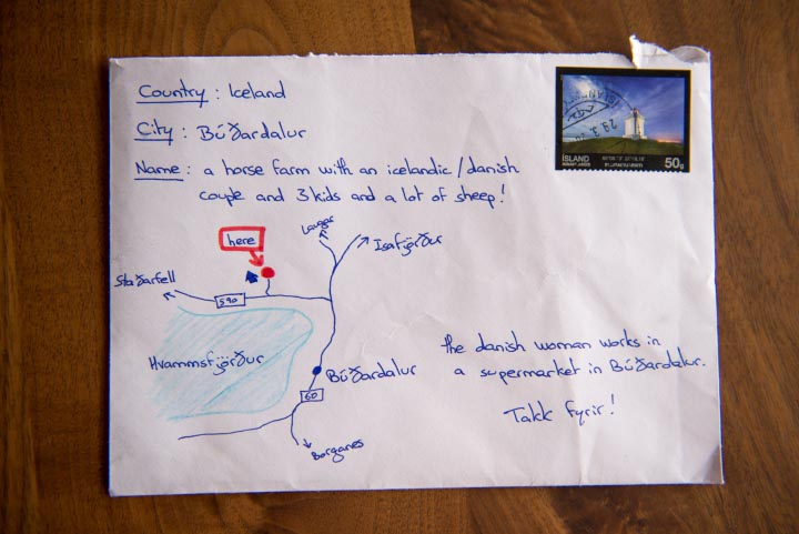 Iceland hand draw postal letter
