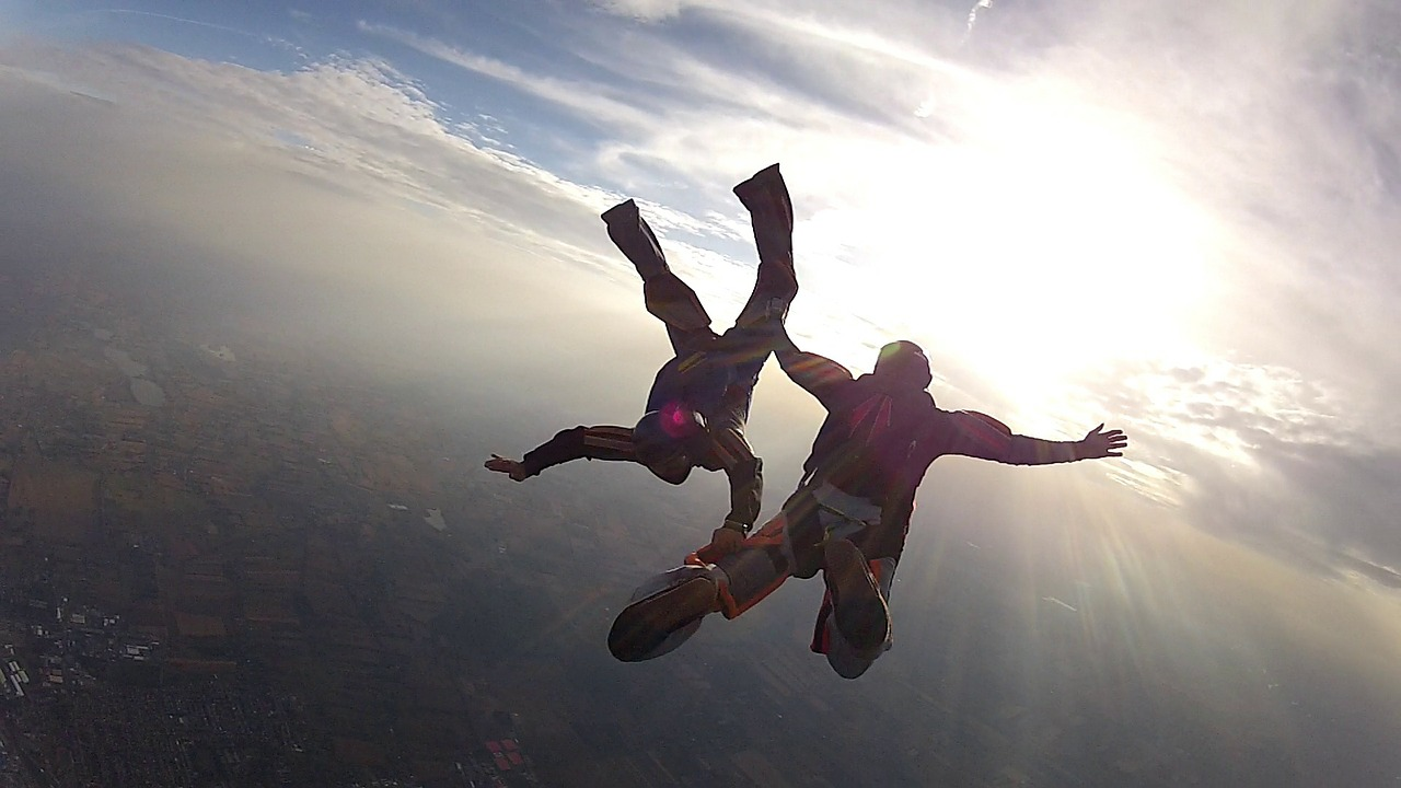 Skydiving instructors save their students