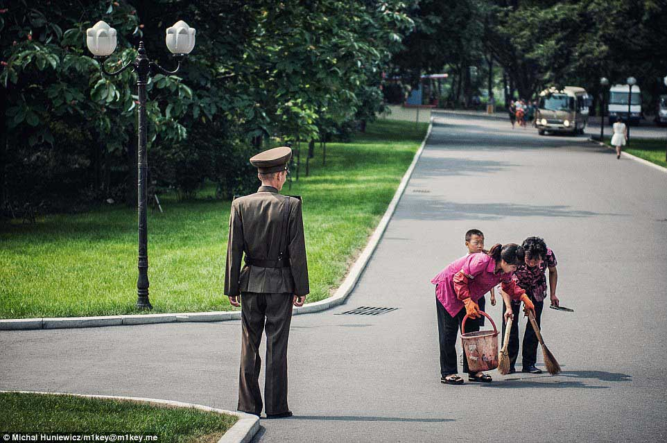 one of the parks in the capital city, Pyongyang