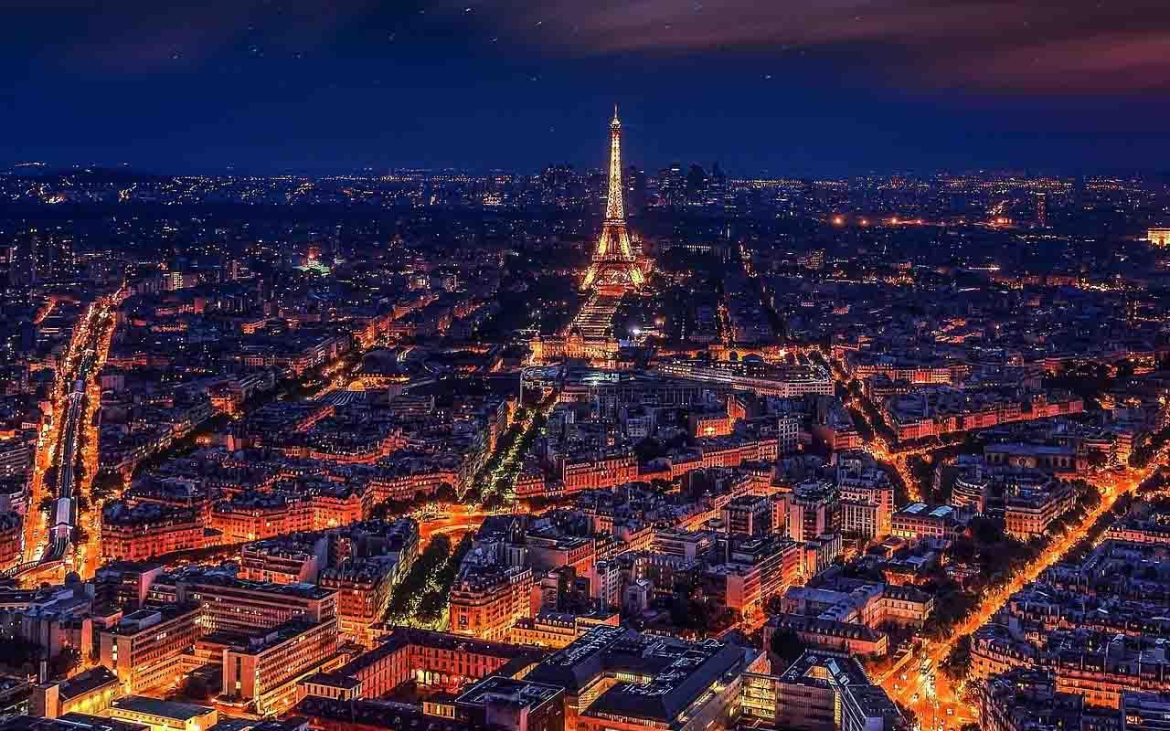 Eiffel Tower, Paris, France, Love, Romance, City, Lights, Night, Sky