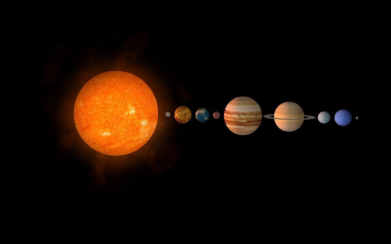 solar system, earth, sun
