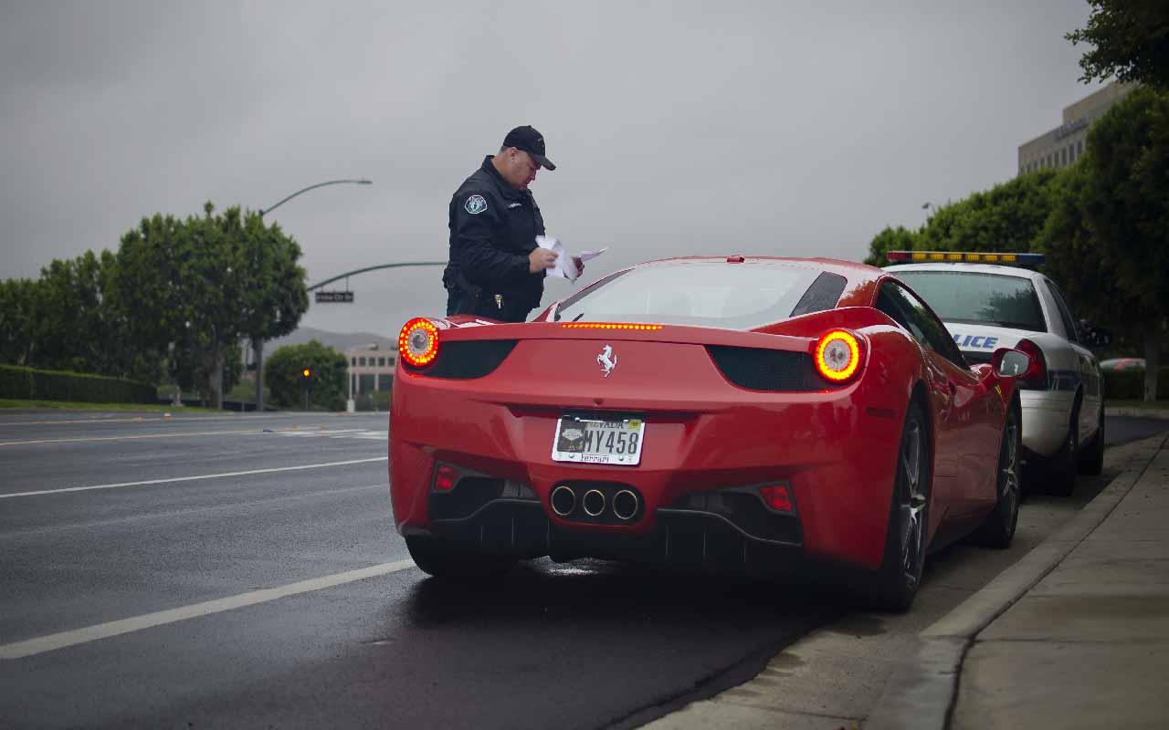 Cop, pulled over, Ferrari, Red, car, sports car
