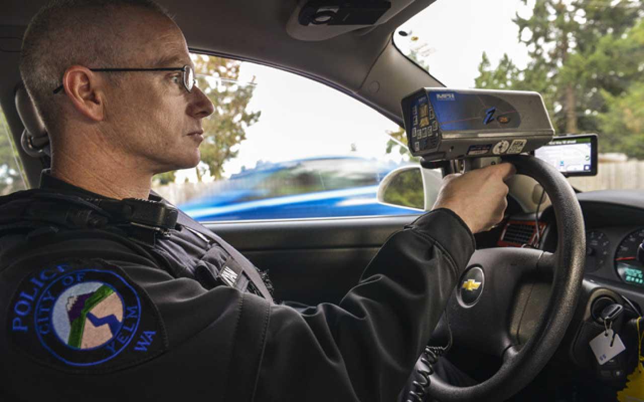 Traffic stop, speeding, radar, police officer checking speed, fact, facts