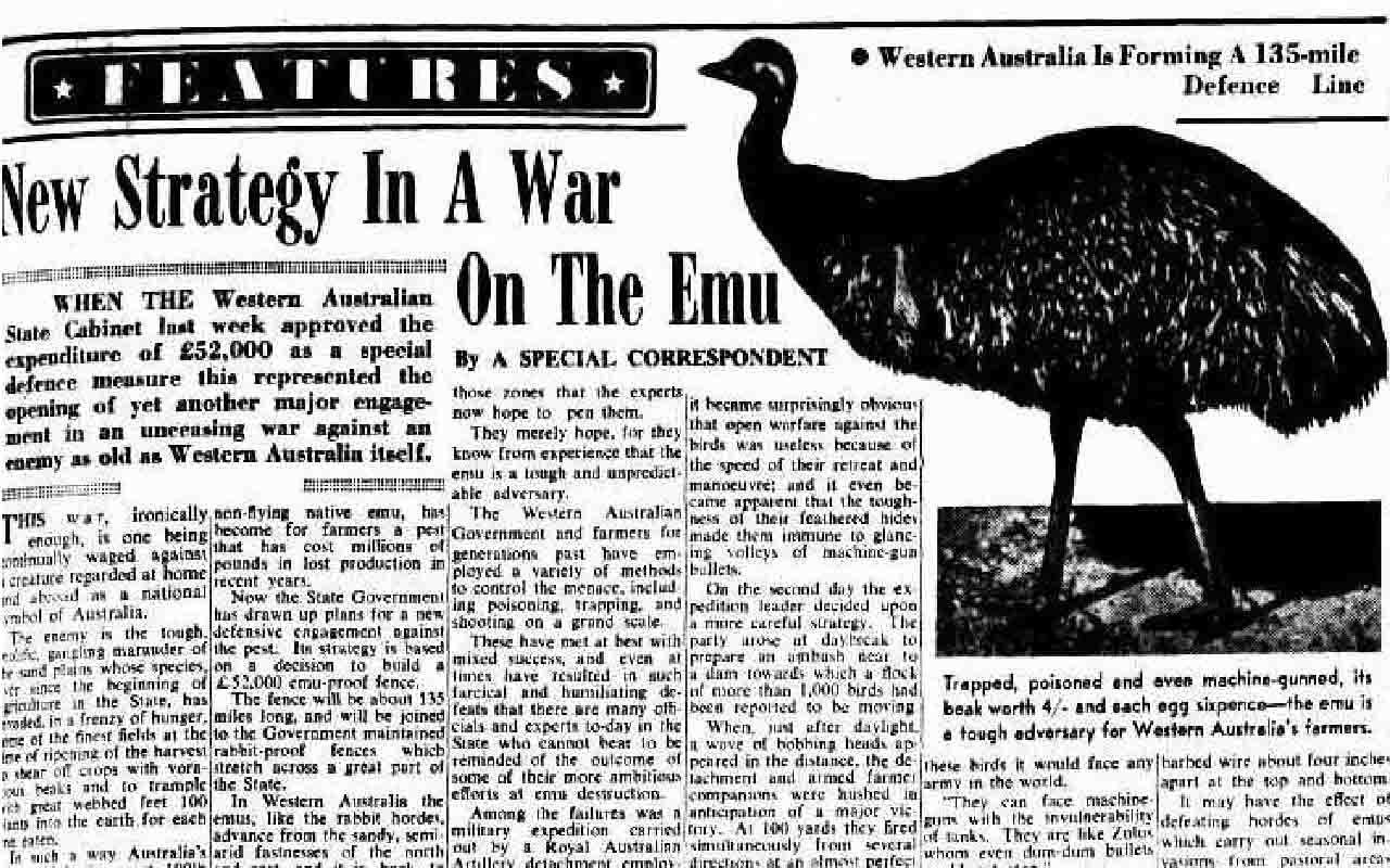 Emu War of 1932 with Australian soldiers
