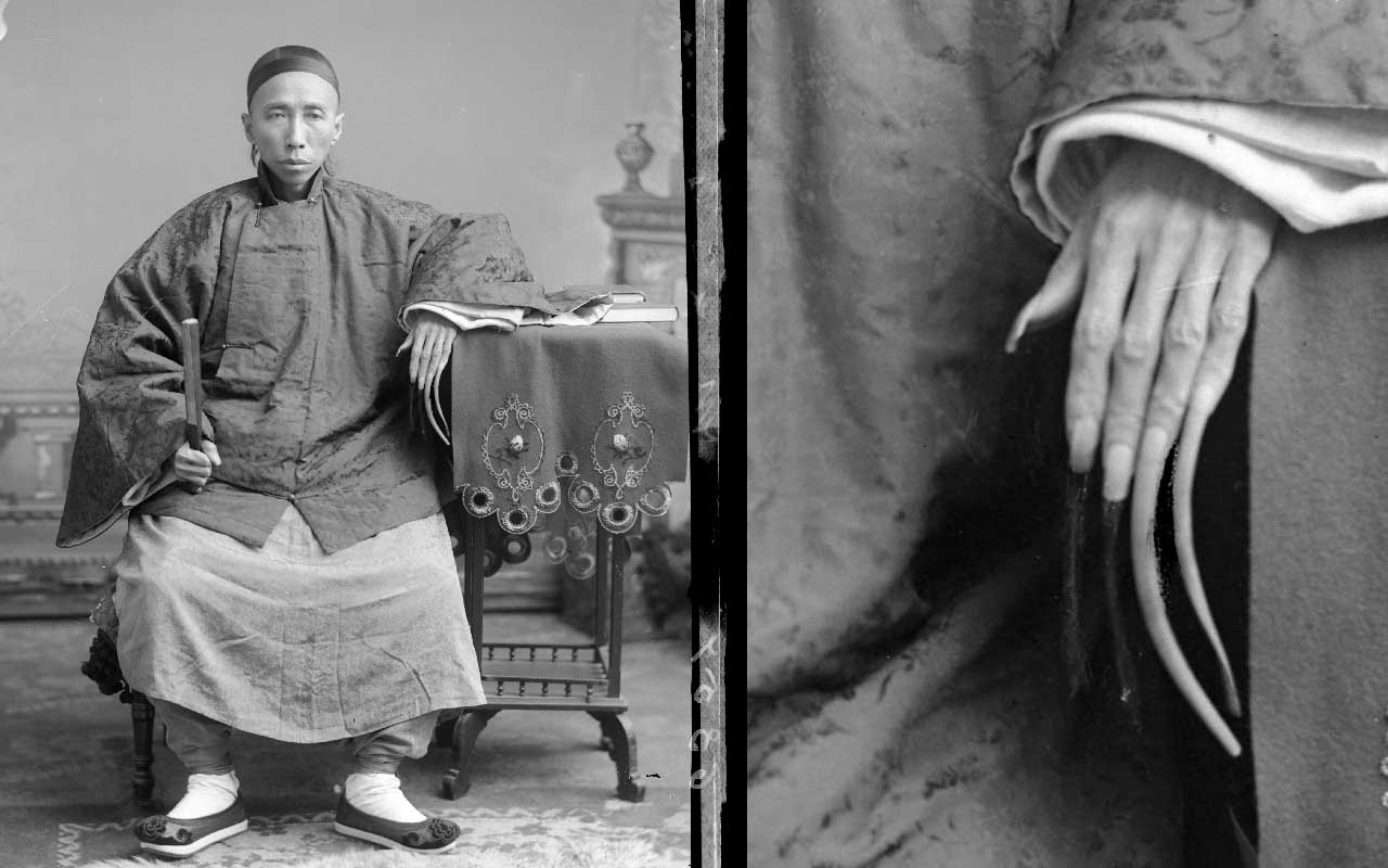 Chinese fingernails, long, manicure, men