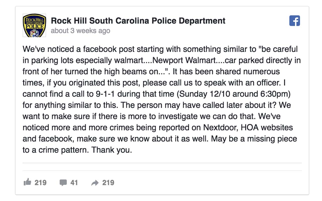 Rock Hill South Carolina Police Department, Facebook post, viral