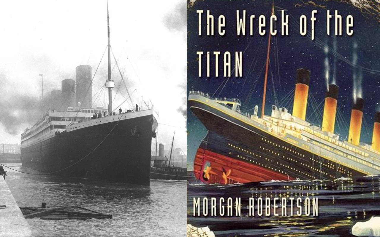 14 years before the tragic sinking of the Titanic, a novel was written about the largest ship the world had seen called Titan, which was sunk by an iceberg, Titanic, book, story, history