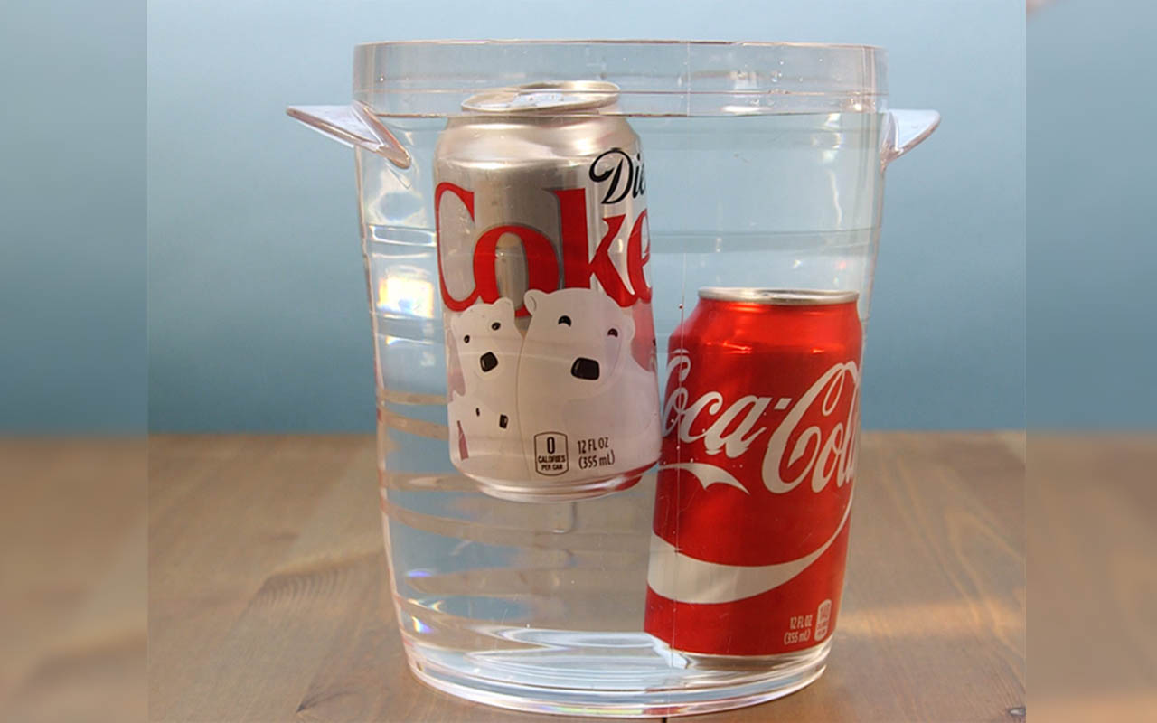 A can of diet Coke will float, while a regular can of Coke will sink in water.