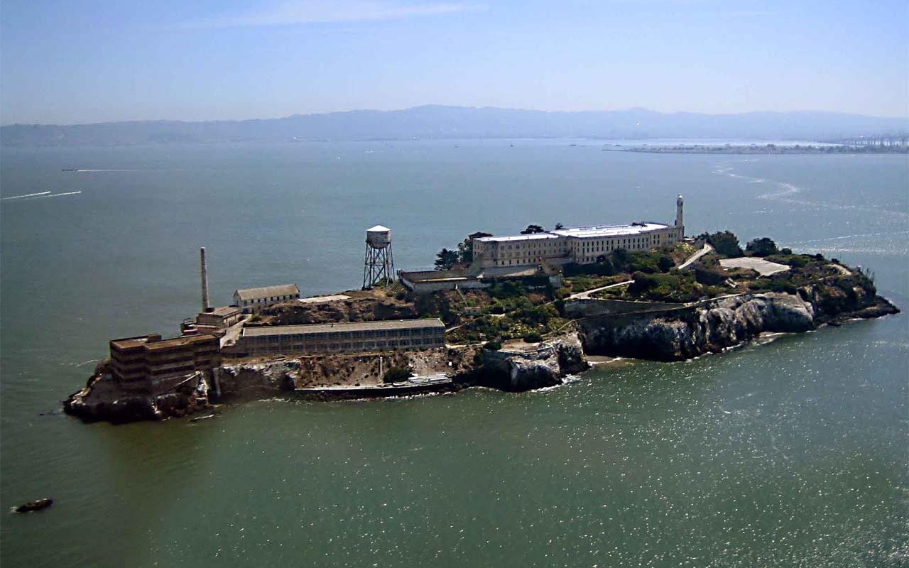 Alcatraz, prison, aerial view