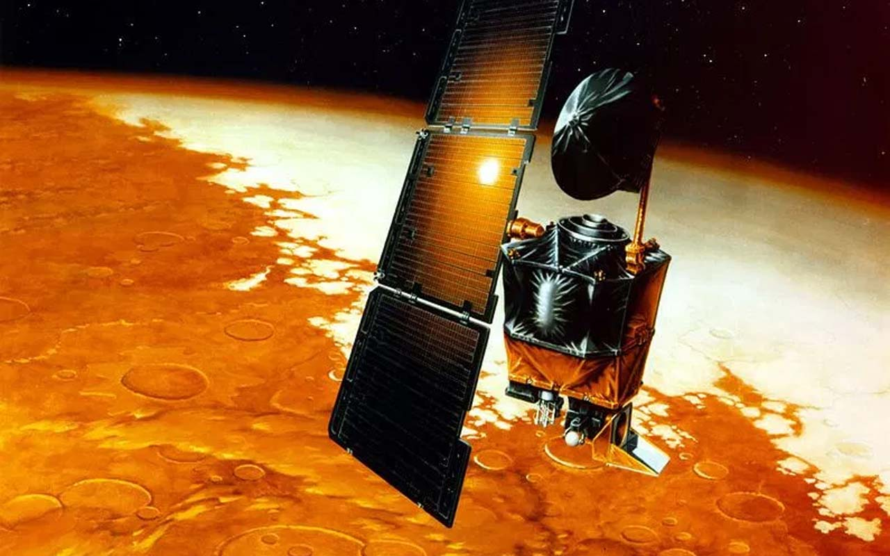The Mars climate orbiter, satellite, orbit, Earth, NASA, Mars, planet, universe