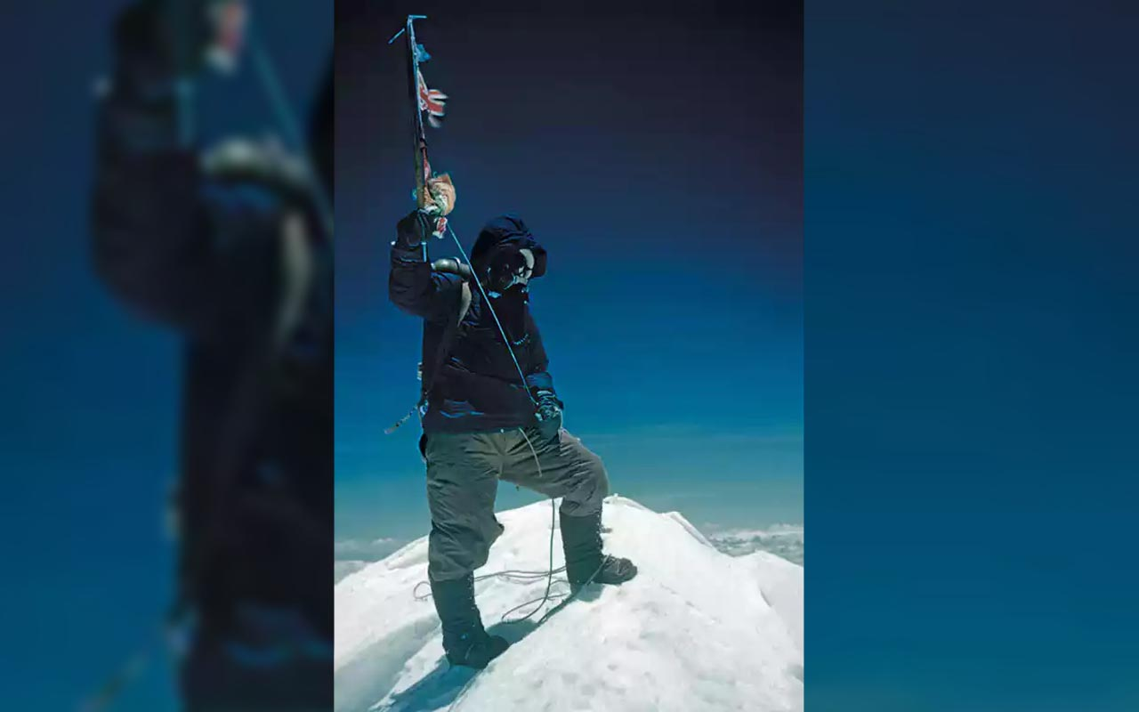Tenzing Norgay after reaching Everest's summit, 1953.