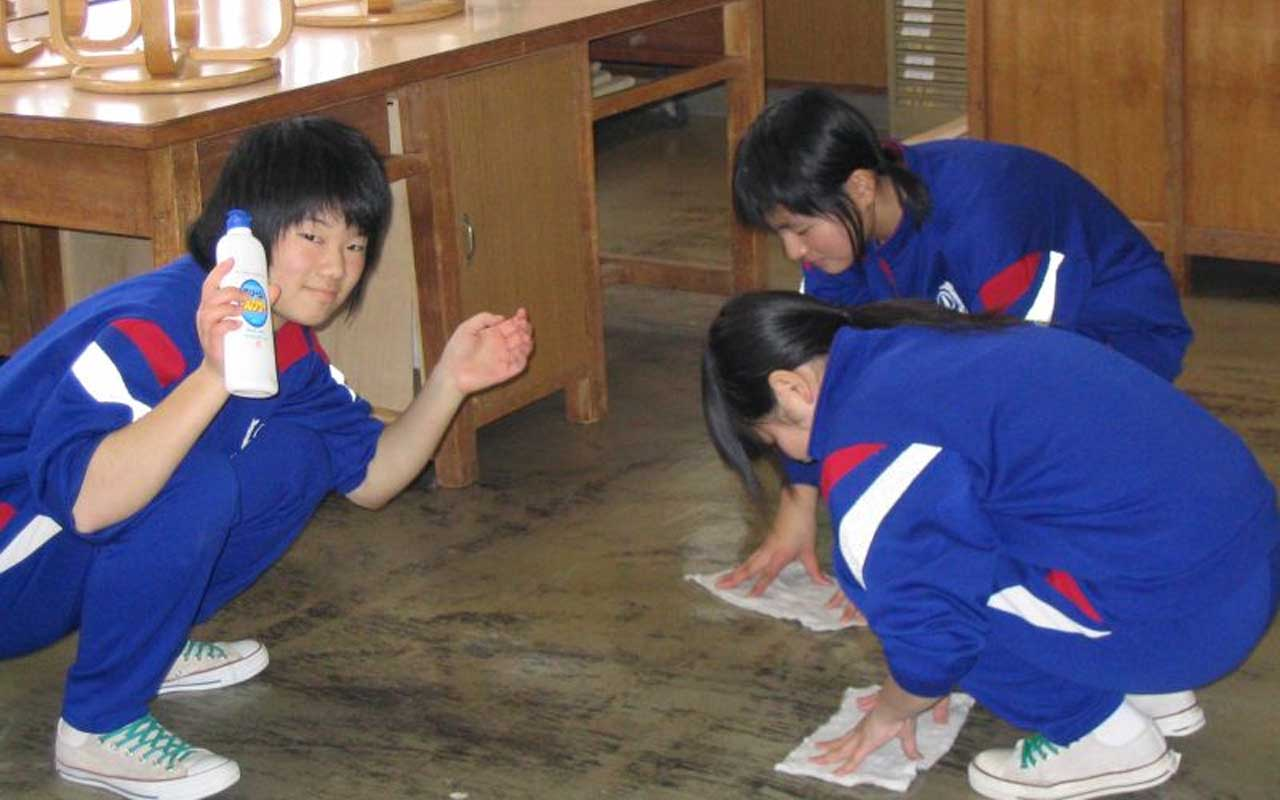 Cleaning the school is part of education in Japan.