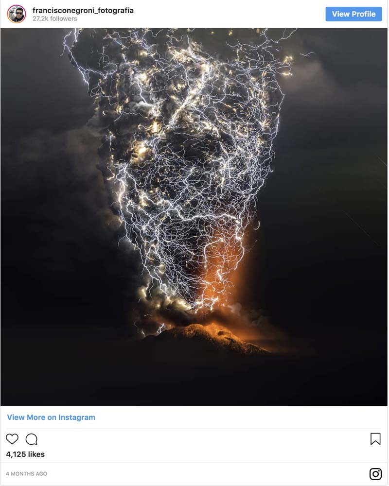 A storm during a volcanic eruption