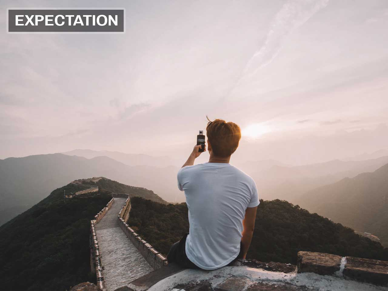 Expectation, reality, China, Great Wall, places, life