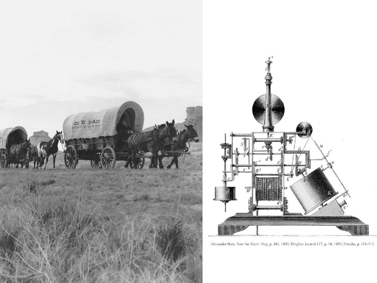 The fax machine was invented the same year that the first wagon crossed the Oregon Trail, 1843.