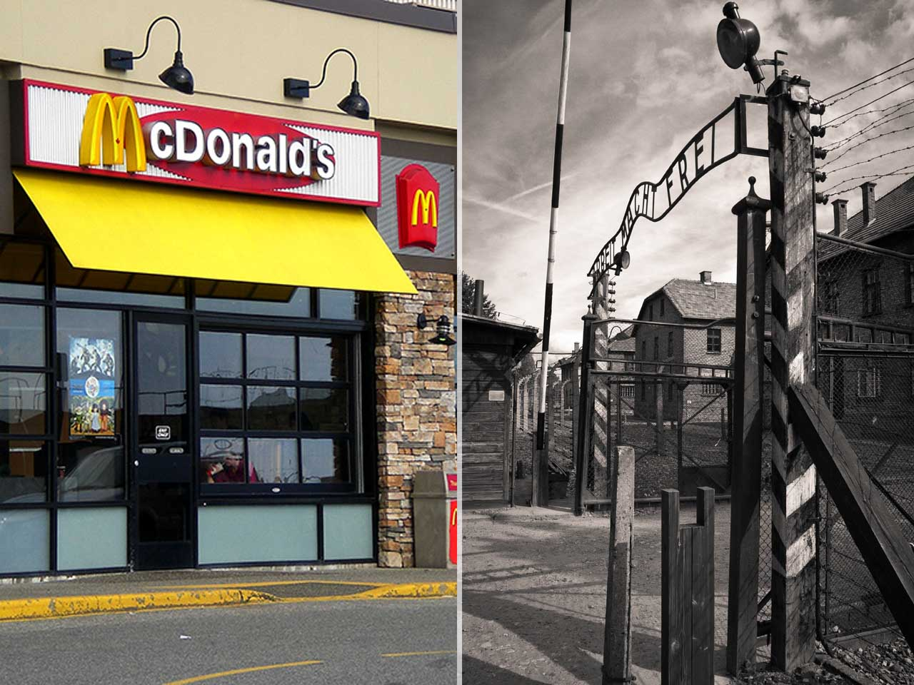 Prisoners arrived at Auschwitz just days after McDonald's was founded, 1940.