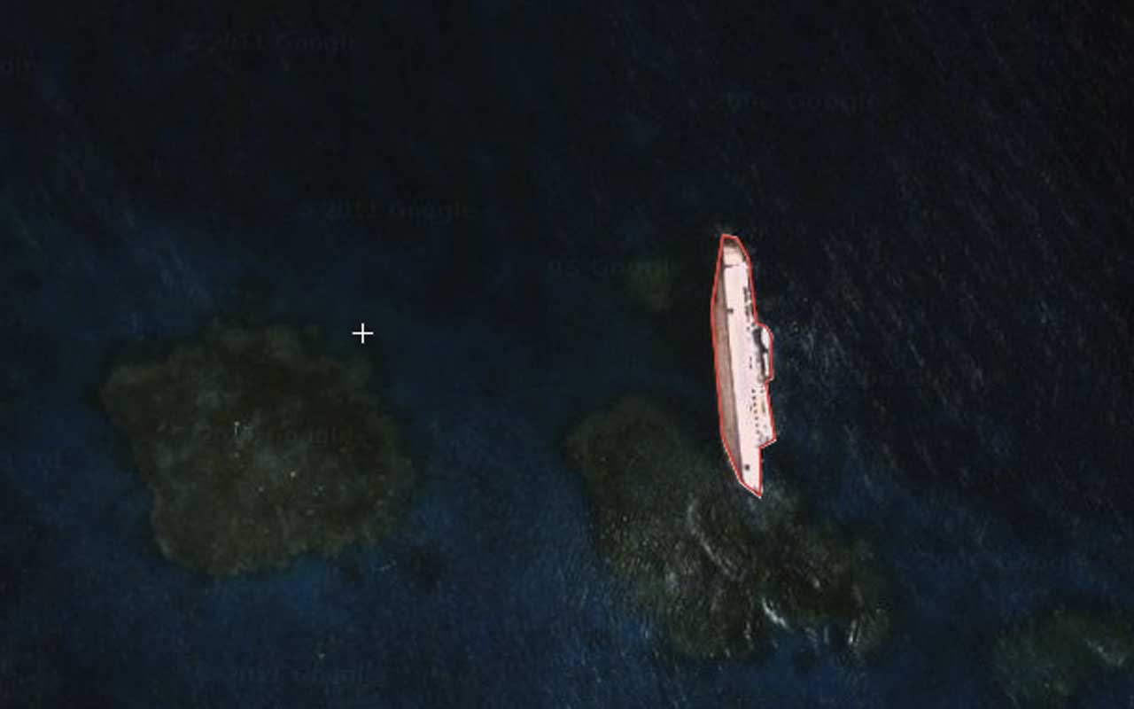 the S.S. Jassim, a Bolivian cargo ferry, google Earth