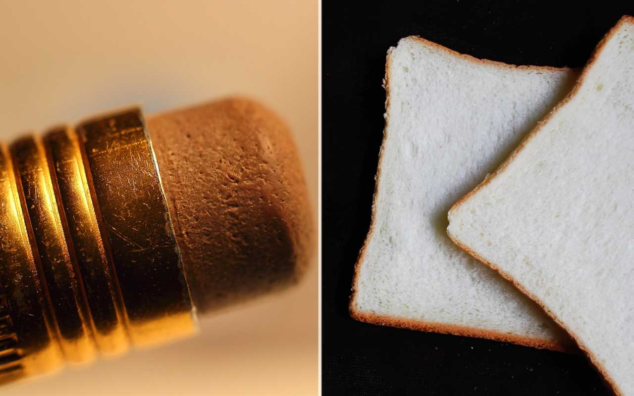 Before the invention of the eraser, people used soft bread crumbs to erase pencil marks.
