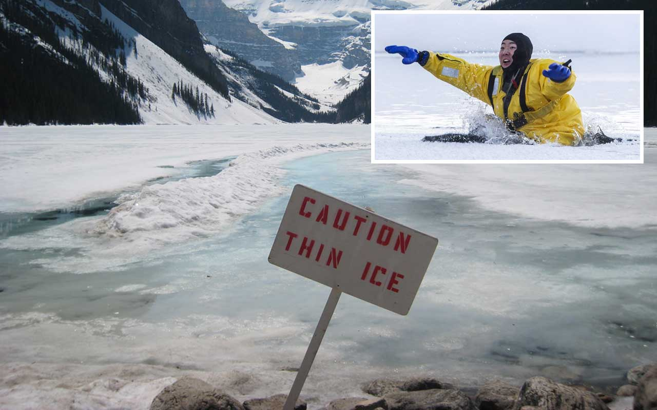Thin ice, lake, pond, people, information