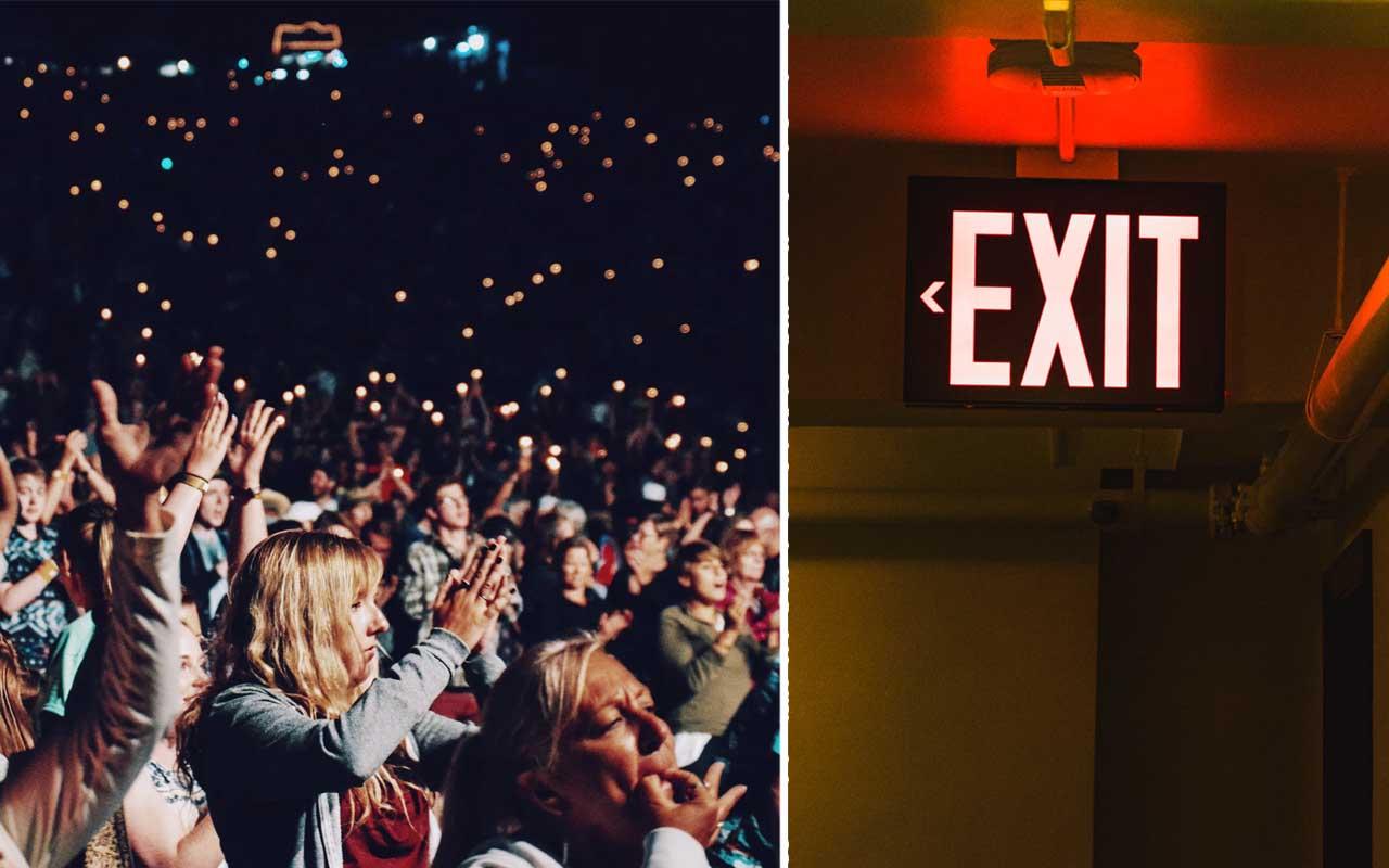 Crowd, exit, concert, life