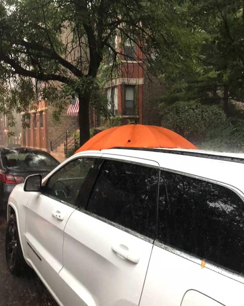 sunroof, car, rain, good samaritan, umbrella