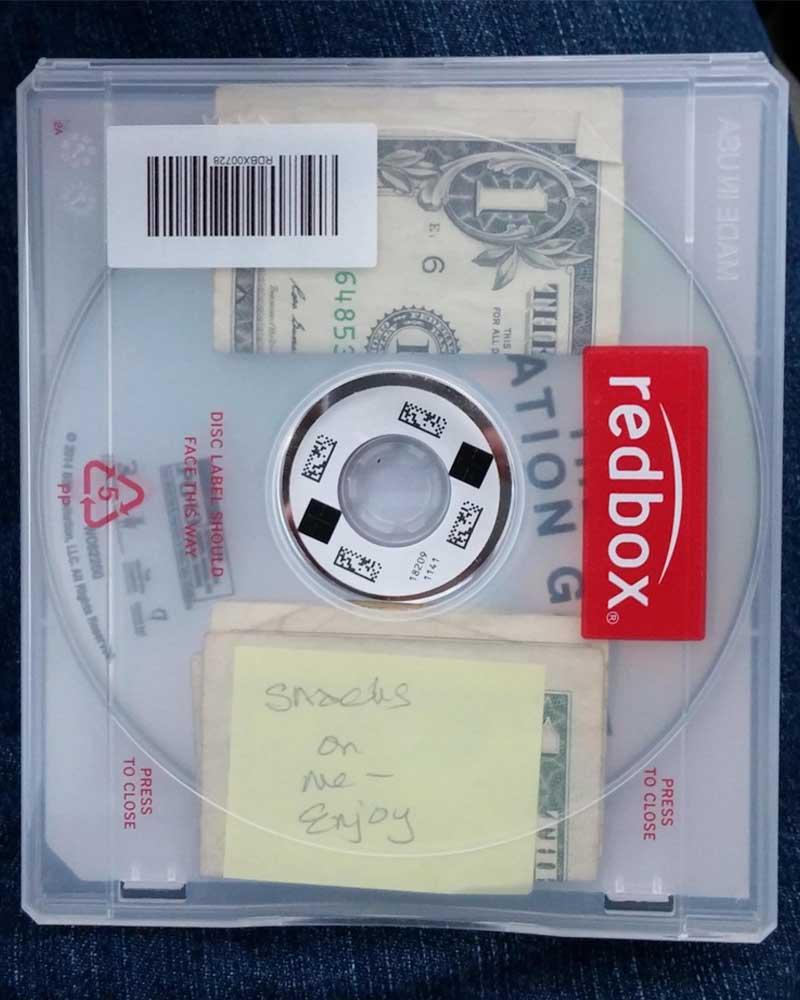 redbox, movie, renting, random act of kindness