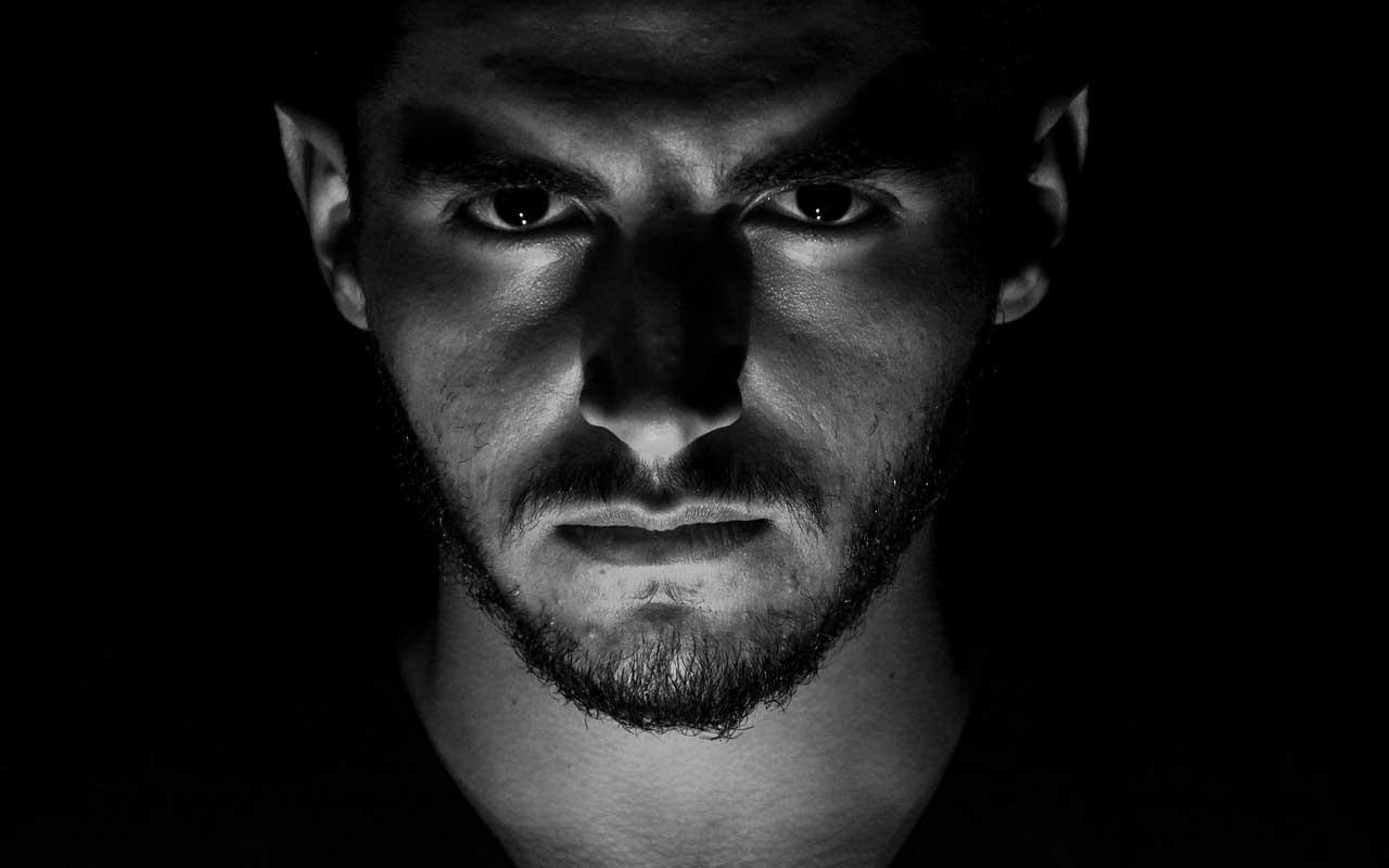 man, stalking, watching, dark, room
