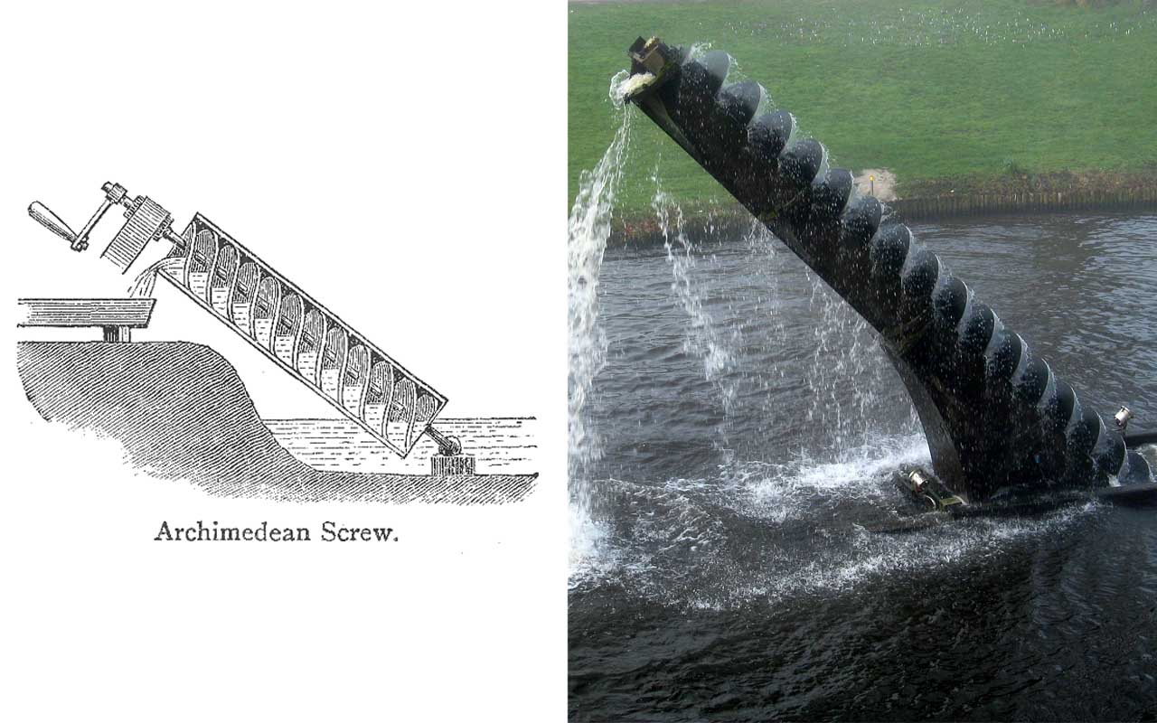 Archimedes screw, water, lift, invention