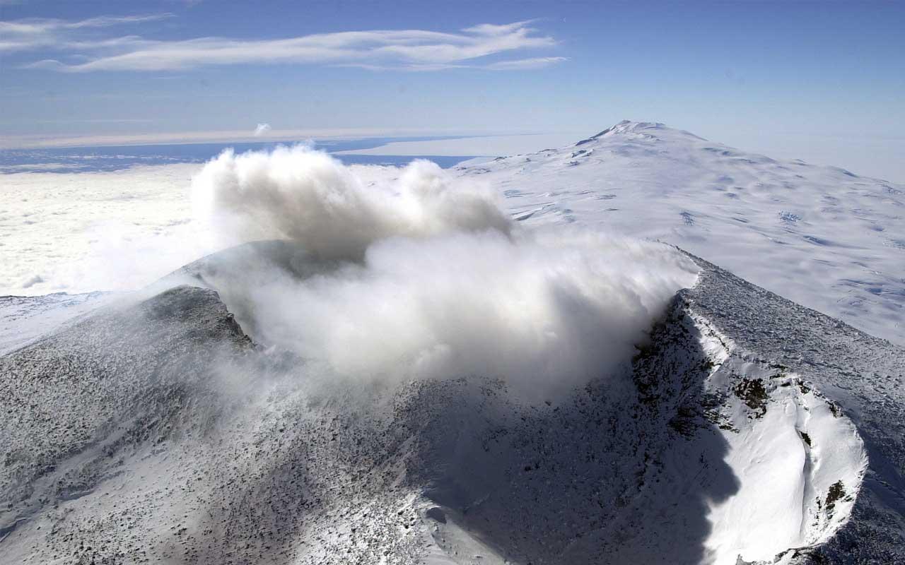 volcano, aerial view, Antarctica
