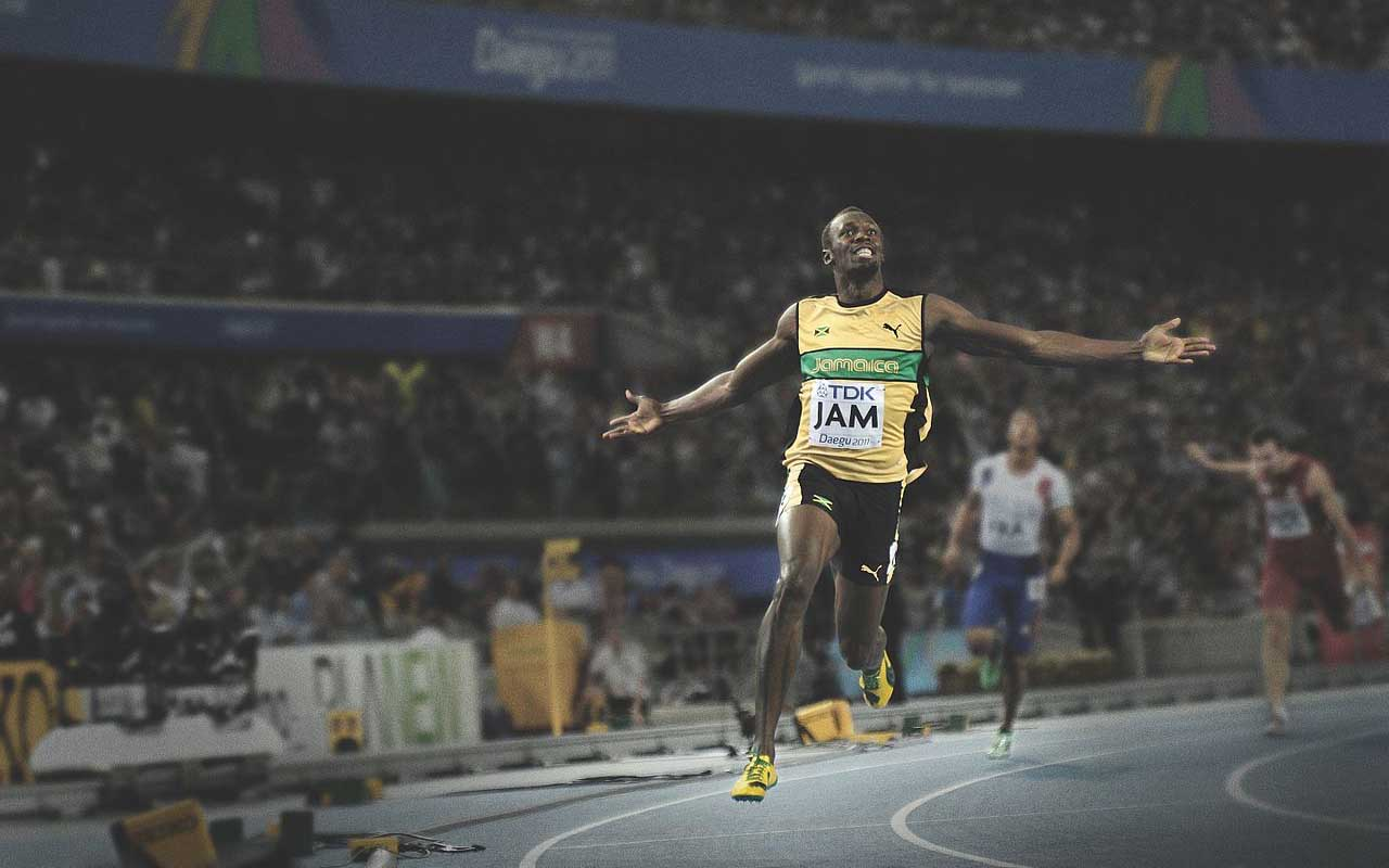 Usain Bolt, running, champion, fast