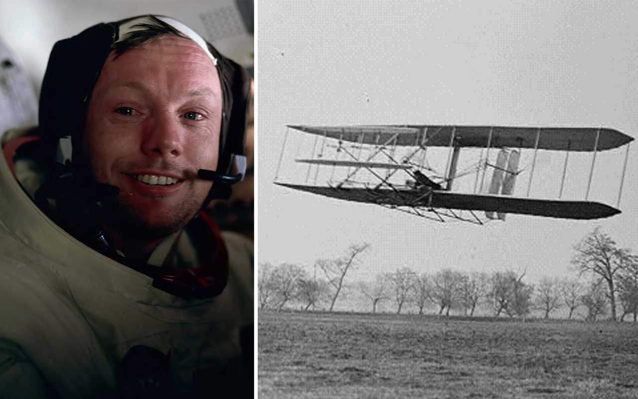 Wright Brothers, Neil Armstrong, flying, events