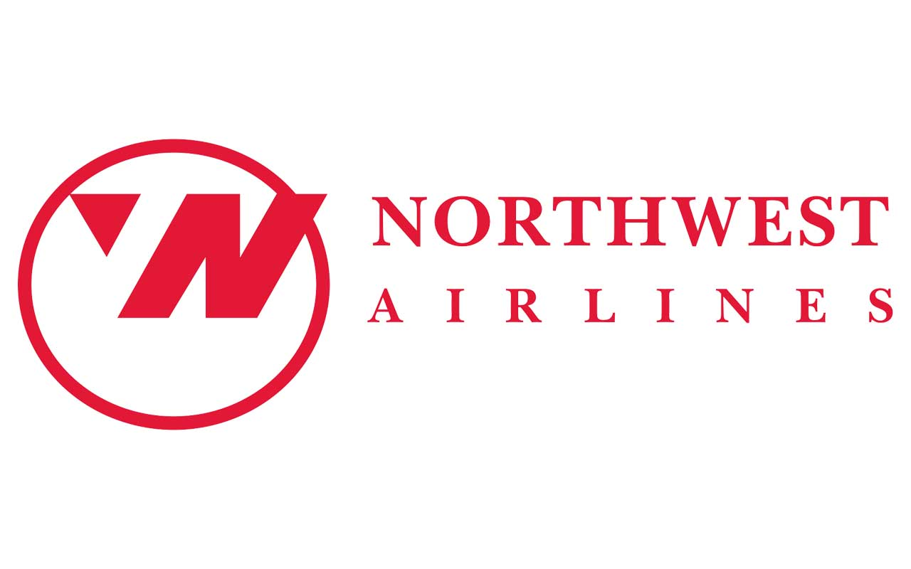 Northwest Airlines, flying, aerial, logos