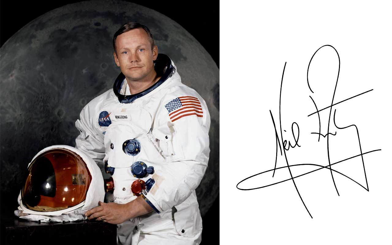 Neil Armstrong, autograph, life, history