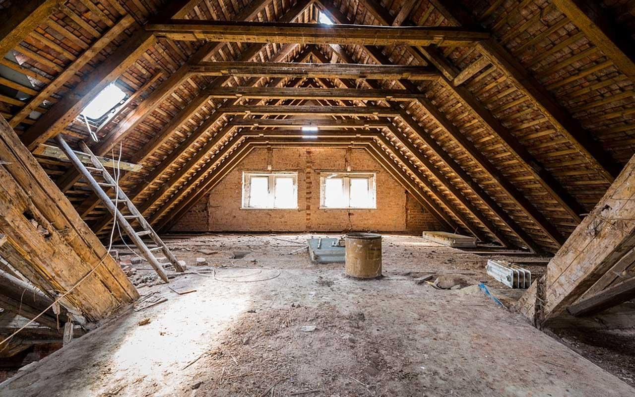 man, attic, unidentified