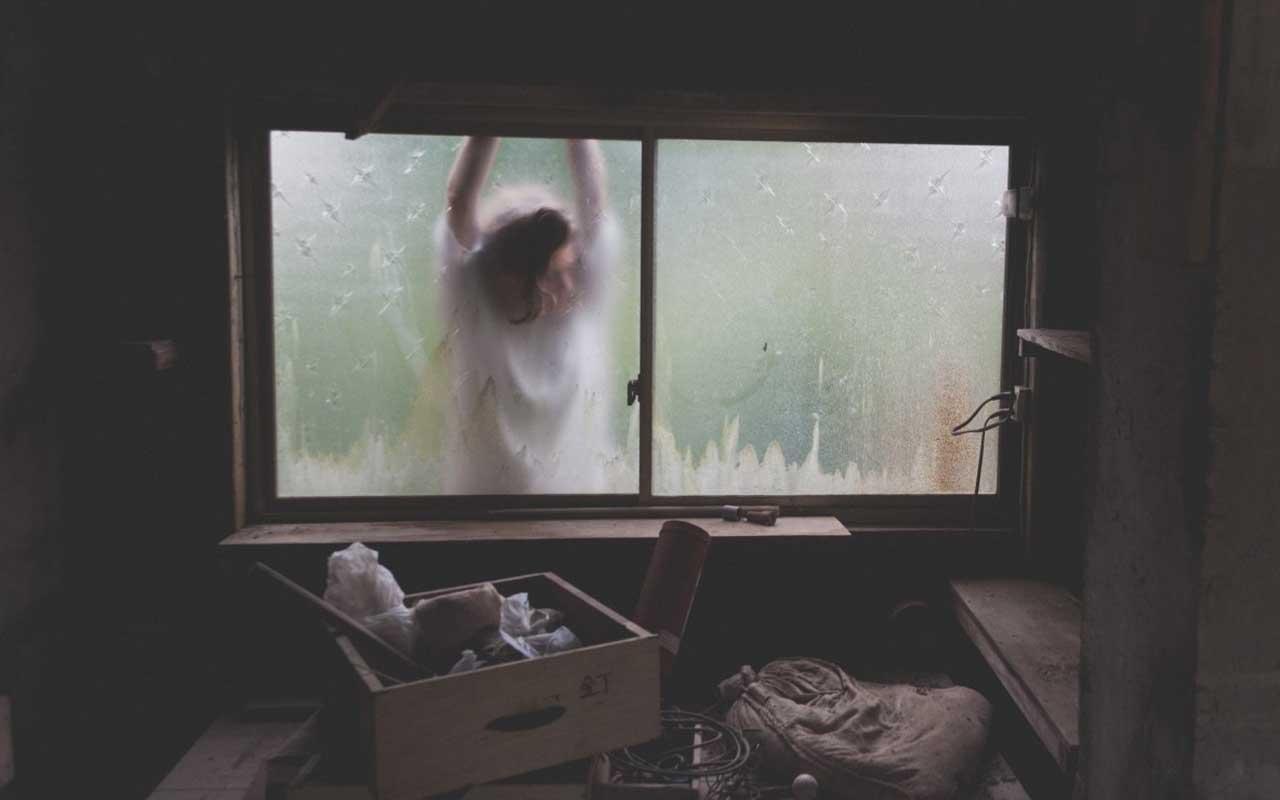 woman, window, fire escape, attic