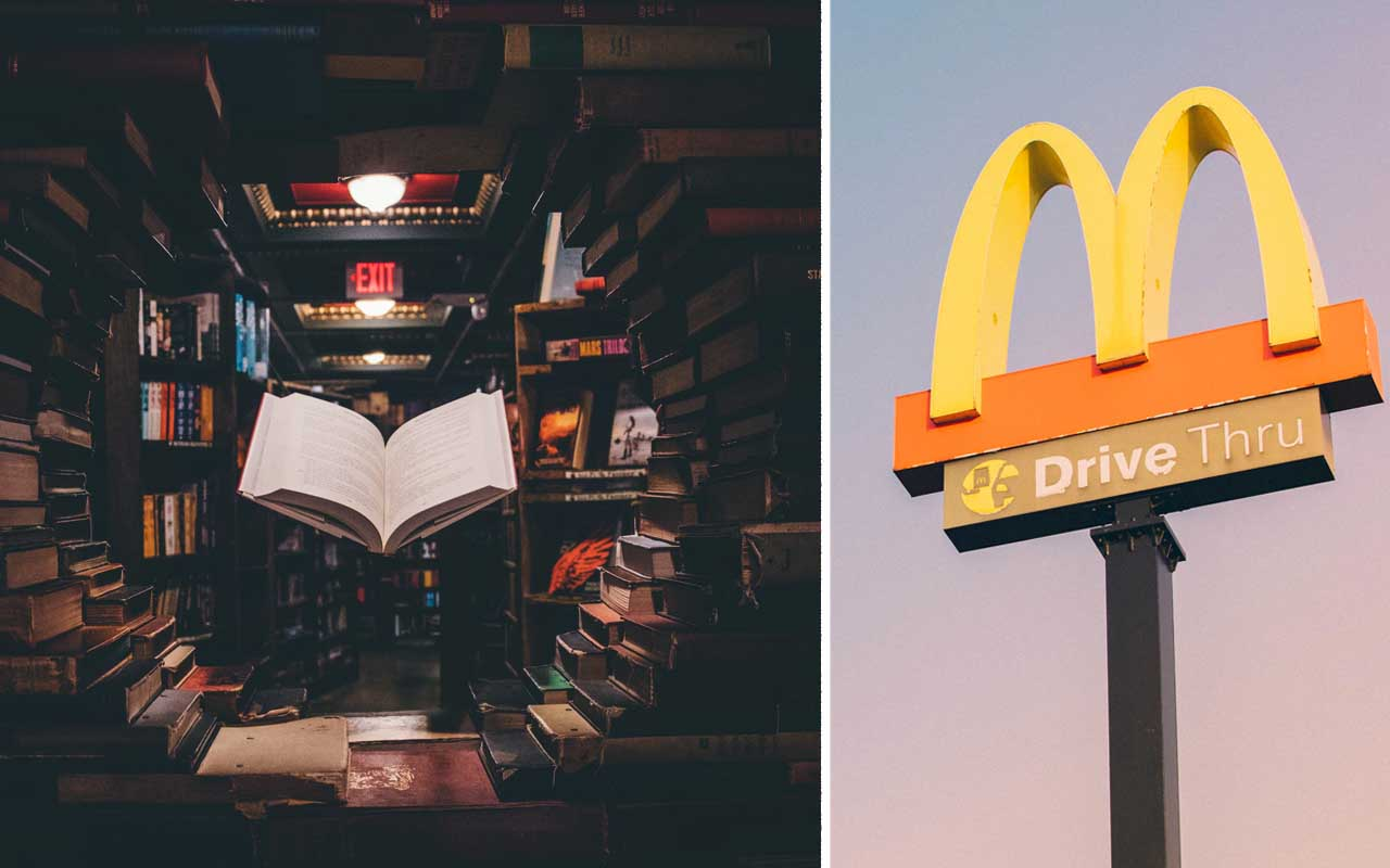 McDonalds, food, library, US, world