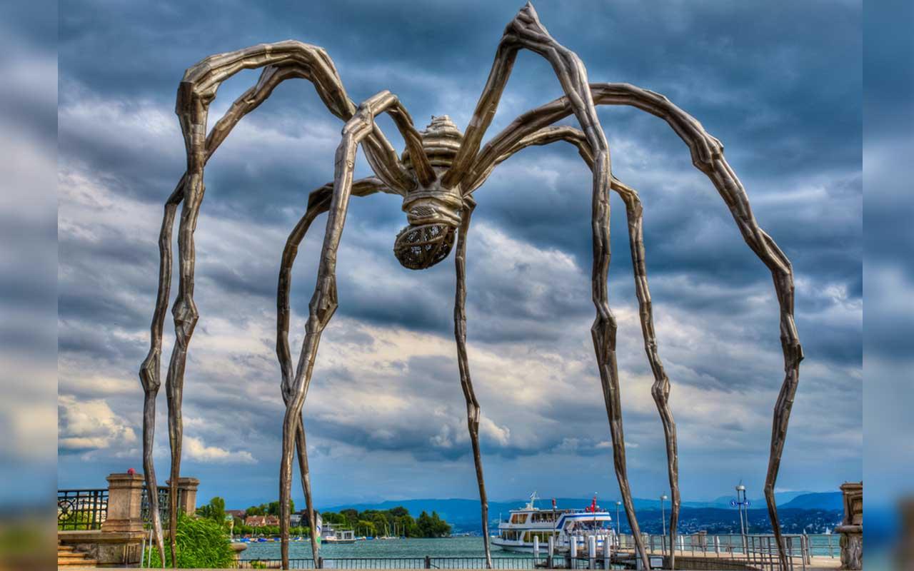 Switzerland, Maman, spider, sculptures, planet