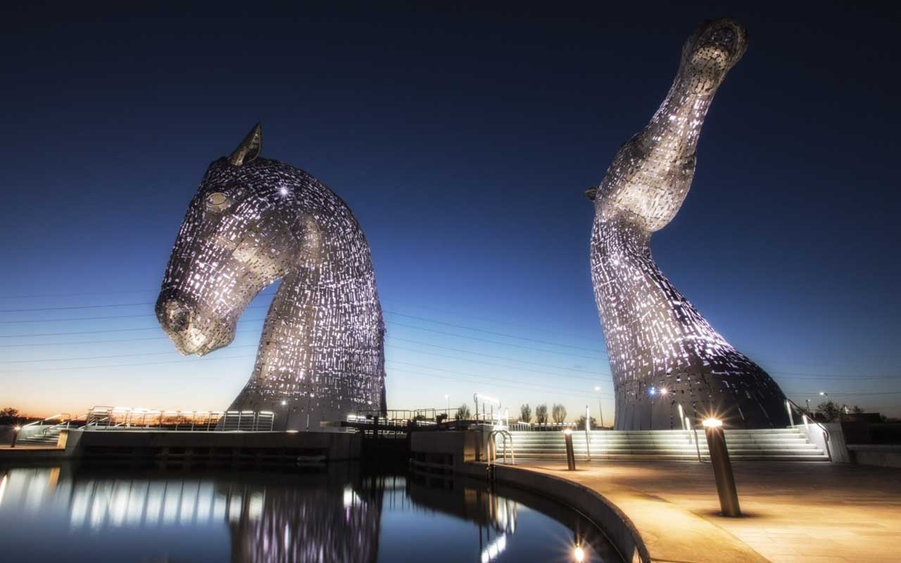 Kelpies, Scotland, sculptures, world, Earth