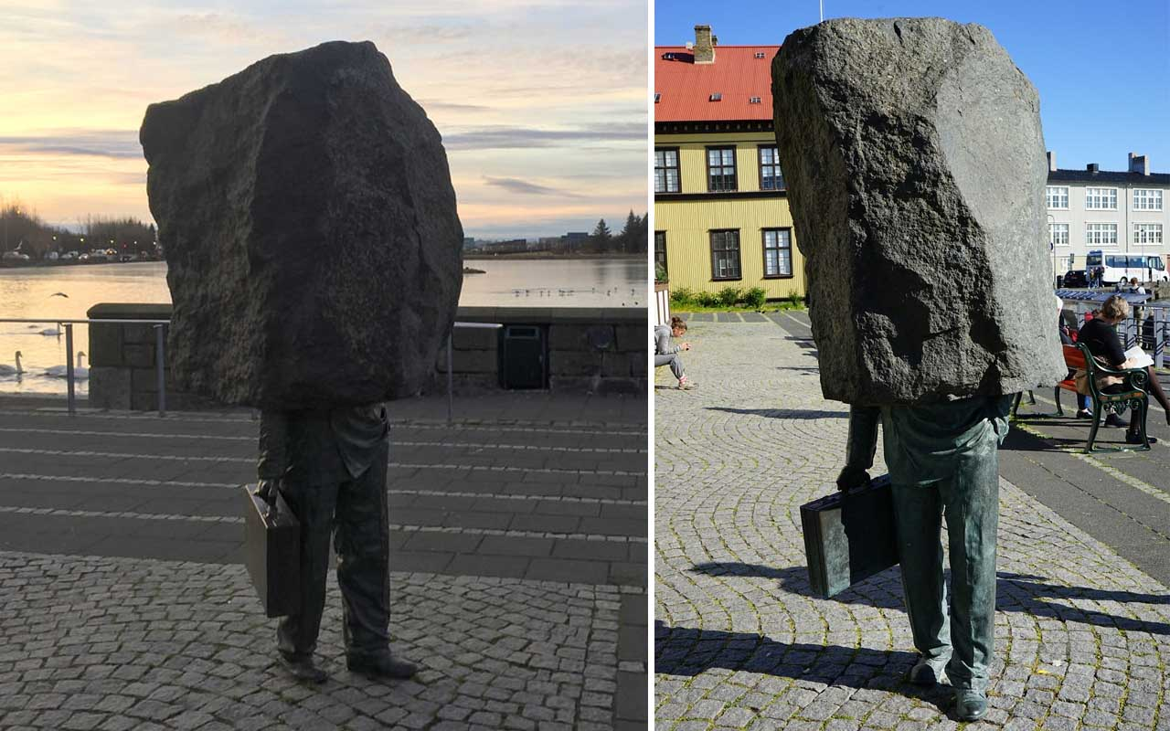 The Unknown Official, also called the Unknown Bureaucrat, by Magnus Tomasson, sculptures, Iceland