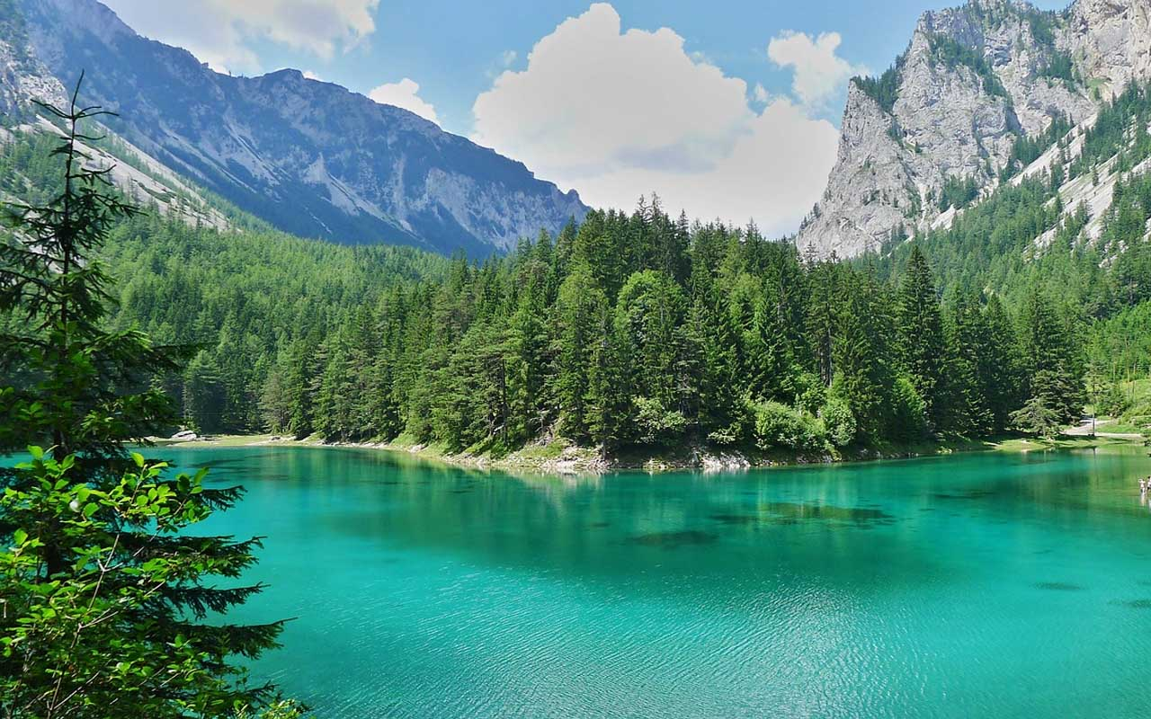 Grüner See, Green Lake, Austria, place, snow, facts