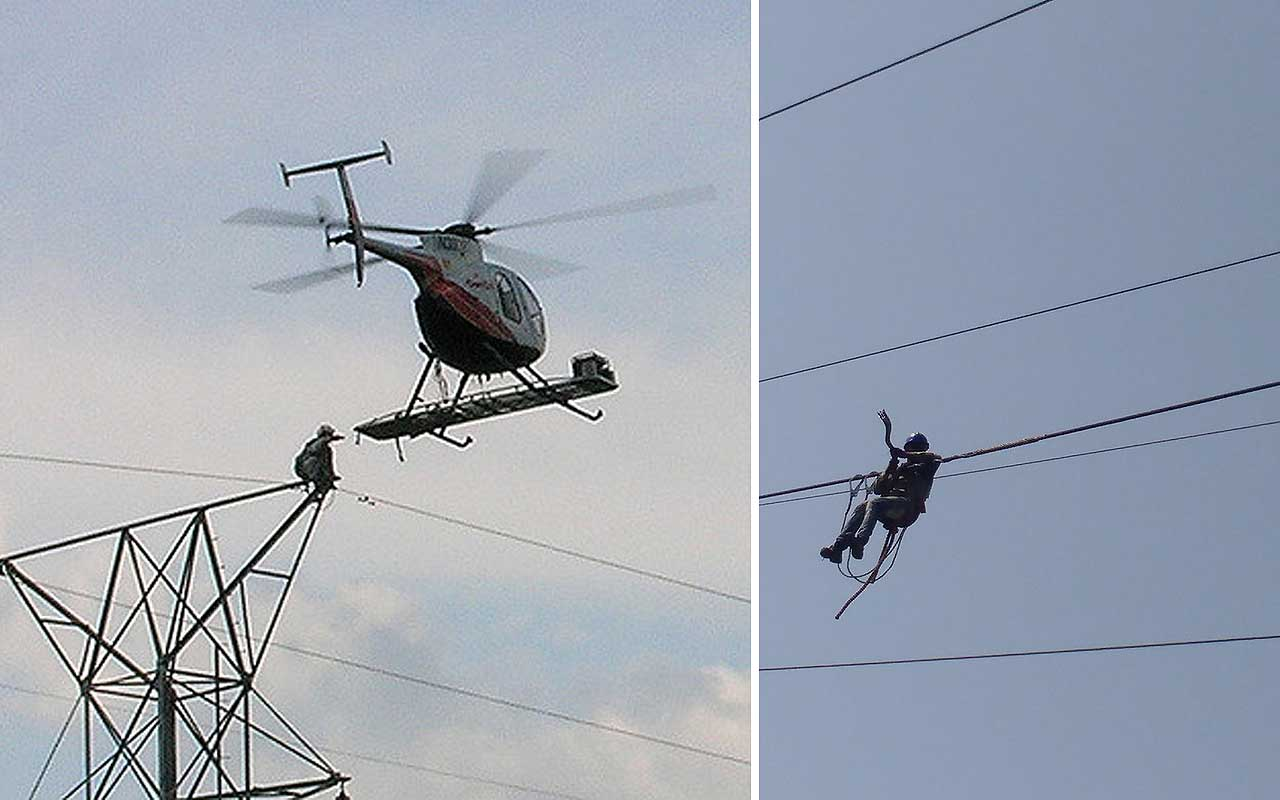 Helicopter lineman, facts, electrician, jobs, weird, flying, aerial