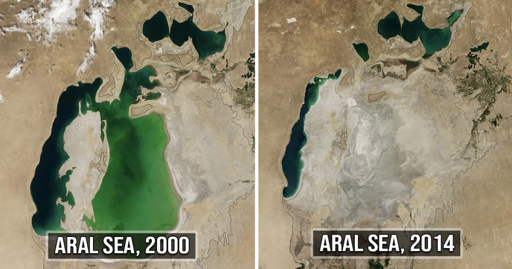 Aral sea, China, transforming, NASA, science, facts