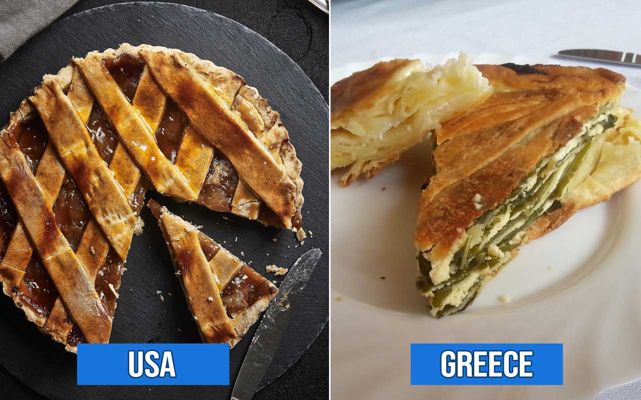 Greece, USA, pie, apple, facts, foods, countries