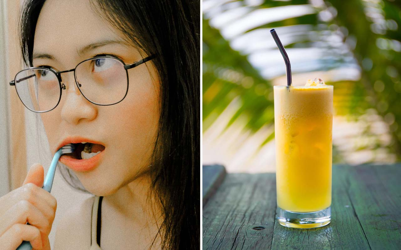 orange juice, brushing, toothpaste, facts, people, health, morning, breakfast