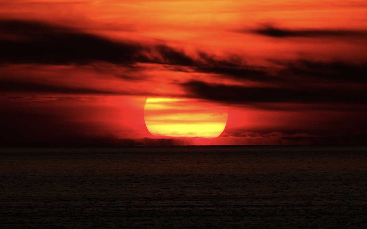 red sky, sailor, swimming, shore, Earth, planet, nature