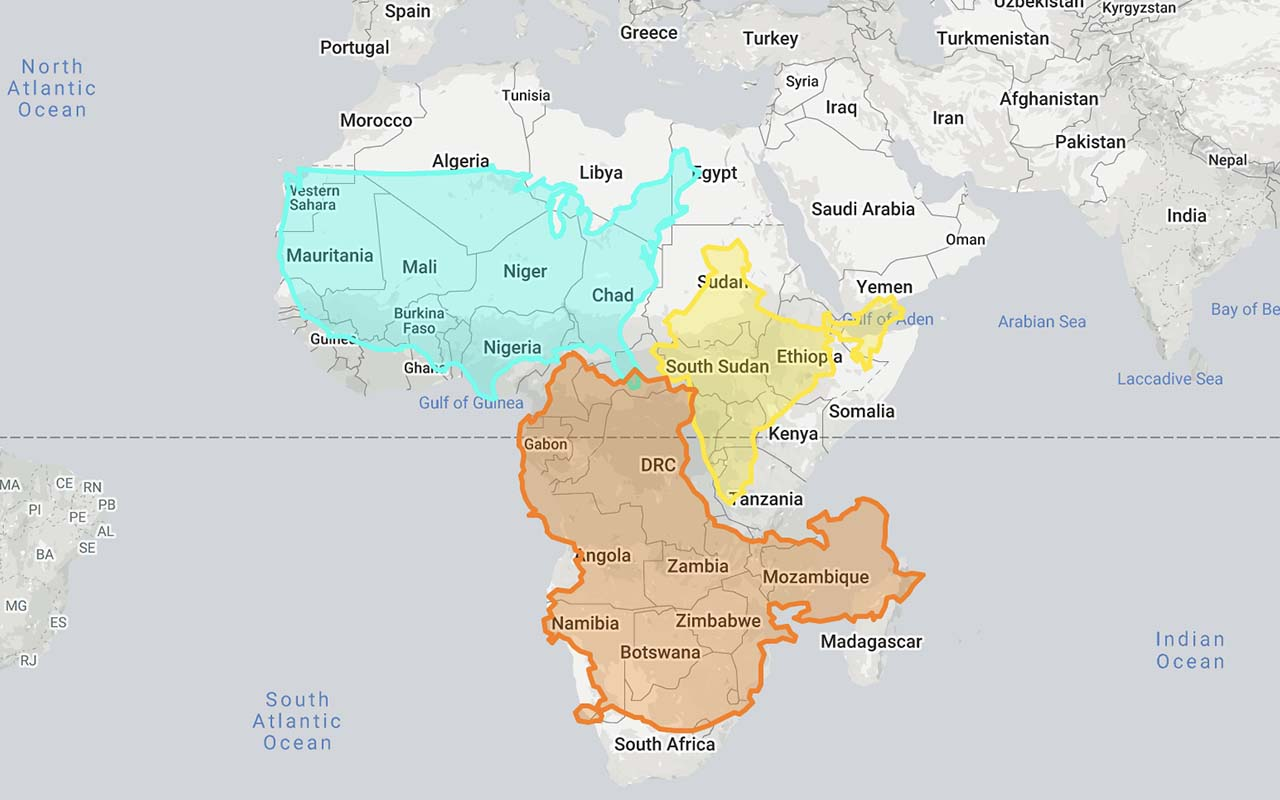 Africa, continent, India, United States, China, size